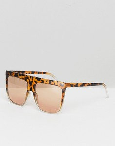 Солнцезащитные очки в квадратной оправе со светло-коричневыми стеклами ASOS - Коричневый