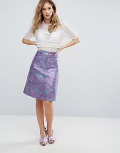 Жаккардовая юбка миди Traffic People - Фиолетовый