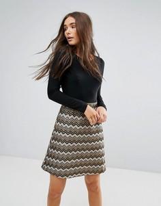 Платье 2-в-1 с фактурной юбкой Traffic People - Мульти
