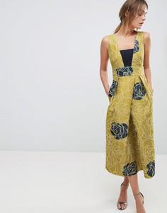 Золотистое платье со складками Closet - Мульти