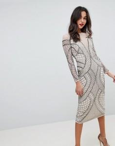 Облегающее платье миди с отделкой ASOS EDITION - Кремовый