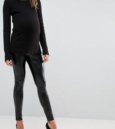Леггинсы с мокрым эффектом и посадкой над животом Bandia Maternity - Черный
