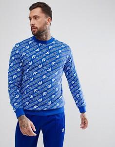 Синий свитшот с принтом adidas Originals CV8600 - Синий