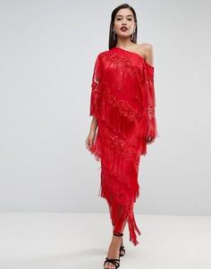 Платье миди на одно плечо с бахромой ASOS EDITION - Красный