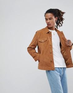 Светло-коричневая замшевая куртка ASOS - Рыжий