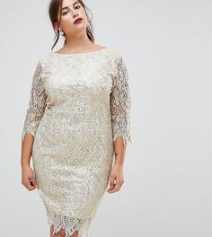 Платье-футляр с рукавами 3/4 и ажурной отделкой Paper Dolls Plus - Кремовый