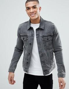 Серая узкая джинсовая куртка ASOS - Серый