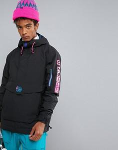 Утепленная горнолыжная куртка без застежки с капюшоном ONeill Reissue Frozen - Черный O`Neill