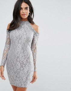 Кружевное платье миди AX Paris - Серый