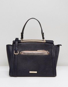 Структурированная сумка-тоут с розово-золотистой фурнитурой Dune Diara - Темно-синий