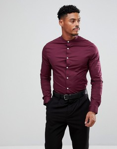 Бордовая рубашка скинни с воротником с застежкой на пуговицах ASOS - Красный