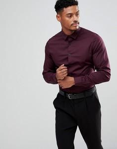 Узкая бордовая рубашка ASOS - Красный