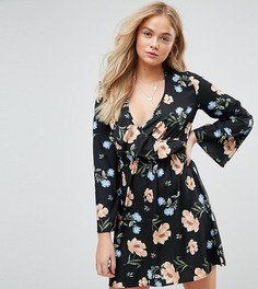Платье с расклешенными рукавами и запахом Influence Tall - Мульти
