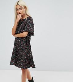 Платье с мелким цветочным принтом и накидкой Yumi Petite - Черный