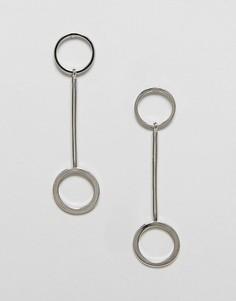 Серьги-подвески с кольцами Nylon - Серебряный