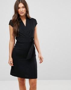 Жаккардовое платье со звериным принтом и D-образной пряжкой Liquorish - Черный