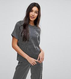 Пижамная футболка в монохромную полоску ASOS TALL - Мульти