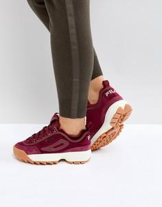 Бордовые бархатные кроссовки Fila Disruptor - Красный
