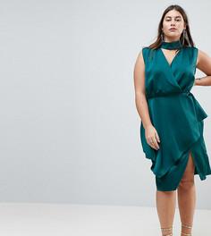Платье миди с запахом ASOS CURVE - Зеленый