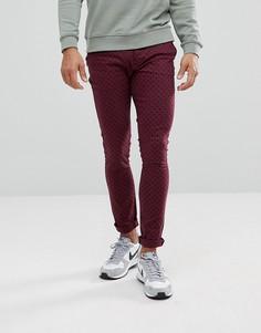 Бордовые брюки скинни в горошек ASOS - Красный