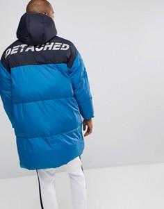 Синяя дутая оверсайз-куртка с принтом на спине ASOS - Синий