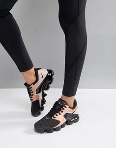 Черные сетчатые кроссовки с золотисто-розовыми вставками Nike Running Vapormax - Черный