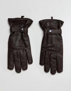 Коричневые кожаные перчатки на флисовой подкладке Schott - Коричневый