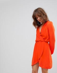 Платье с длинными рукавами и запахом Love - Оранжевый