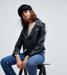 Кожаная куртка с кольцами на бегунках молний ASOS PETITE - Черный