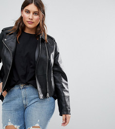 Кожаная куртка с кольцами на бегунках молний ASOS CURVE - Черный