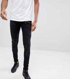 Выбеленные черные супероблегающие джинсы с рваной отделкой ASOS TALL - Черный