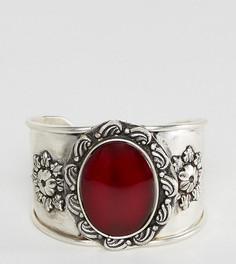 Эффектный браслет-манжета с камнем Reclaimed Vintage - Серебряный