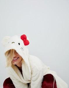 Пушистый халат с отделкой на капюшоне Hello Kitty X ASOS - Кремовый