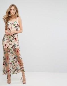 Платье макси с вышивкой и шнуровкой на спине Forever New - Мульти