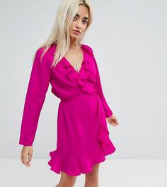 Платье мини с запахом и оборками ASOS PETITE - Розовый