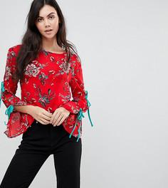 Топ с цветочным принтом и завязками на рукавах Glamorous Tall - Красный