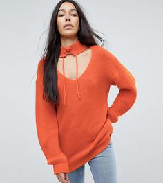 Свободный джемпер с вырезом и завязкой Glamorous Tall - Оранжевый