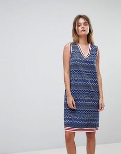 Платье в блестящую полоску с отделкой кантом Diesel - Синий