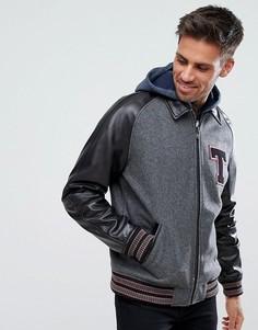 Черная кожаная университетская куртка с аппликацией ASOS - Черный