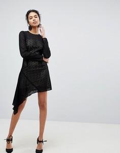 Кружевное платье мини с асимметричным подолом Keepsake Dreamers - Черный