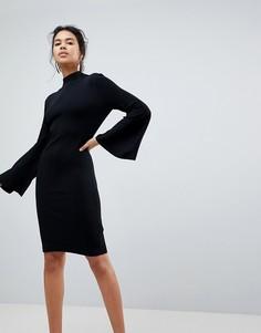 Трикотажное платье с расклешенными рукавами Keepsake - Черный