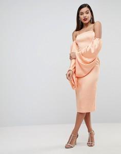 Атласное платье миди с пышными рукавами на манжетах ASOS EDITION - Оранжевый