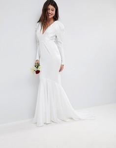 Платье макси с защипами на плечах и годе ASOS BRIDAL - Белый