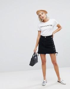 Мини-юбка со шнуровкой Urban Bliss - Черный