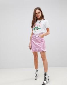 Розовая блестящая джинсовая юбка с оборкой Chorus - Розовый