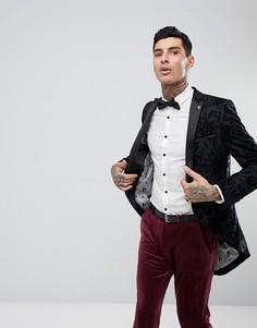 Пиджак-смокинг с набивкой флок Noose & Monkey - Серый