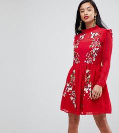 Платье мини из добби с вышивкой ASOS PETITE - Красный