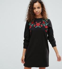 Трикотажное платье с вышивкой роз ASOS PETITE - Мульти