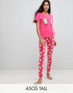Пижамная футболка и леггинсы с принтом авокадо и яиц ASOS TALL - Мульти