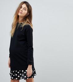 Платье 2 в 1 с плиссированным подолом в горошек ASOS MATERNITY - Черный